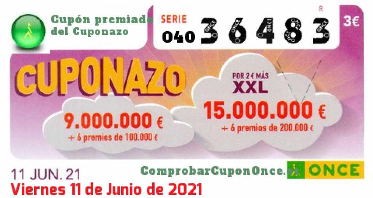 Cuponazo ONCE premiado el Viernes 11/6/2021