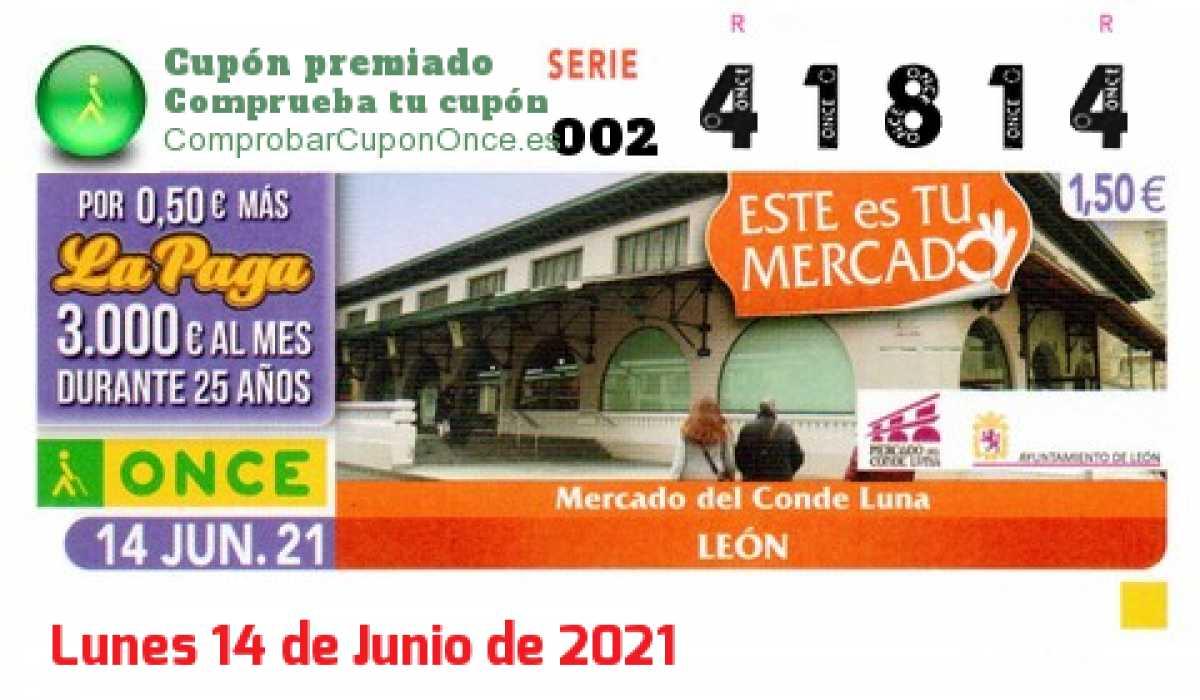 Cupón ONCE premiado el Lunes 14/6/2021