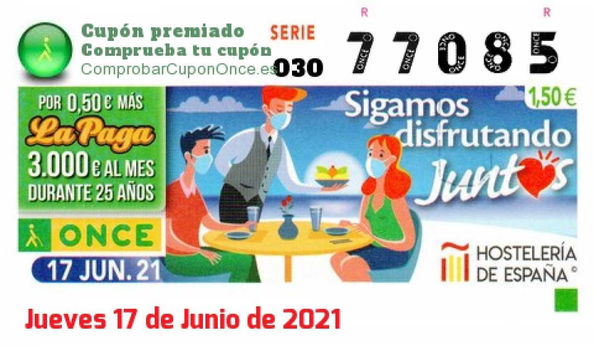 Cupón ONCE premiado el Jueves 17/6/2021