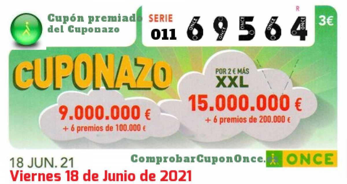 Cuponazo ONCE premiado el Viernes 18/6/2021
