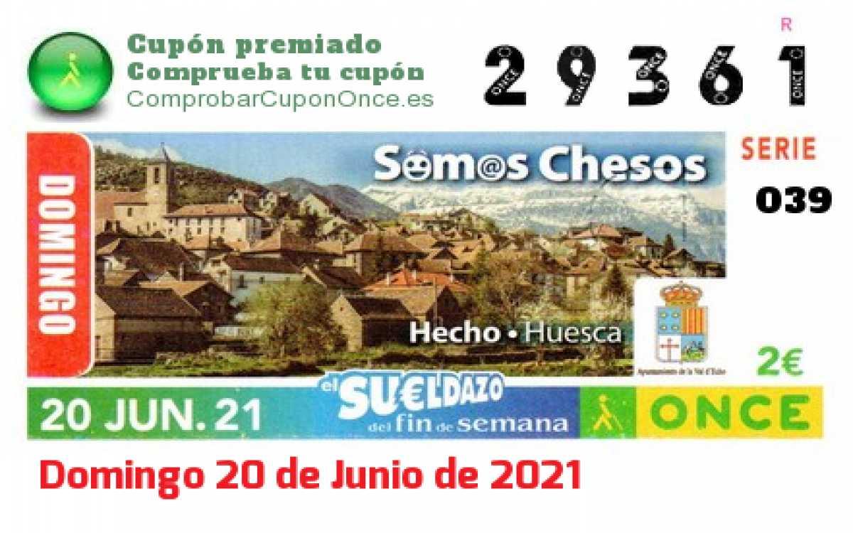 Sueldazo ONCE premiado el Domingo 20/6/2021