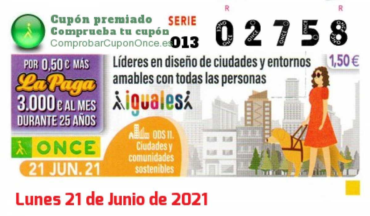Cupón ONCE premiado el Lunes 21/6/2021