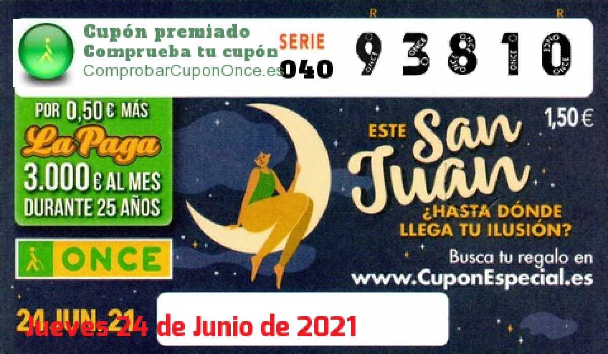 Cupón ONCE premiado el Jueves 24/6/2021