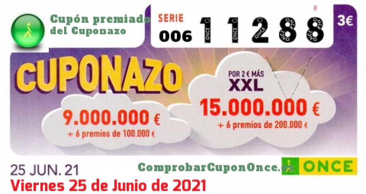 Cuponazo ONCE premiado el Viernes 25/6/2021