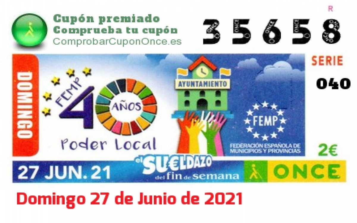 Sueldazo ONCE premiado el Domingo 27/6/2021