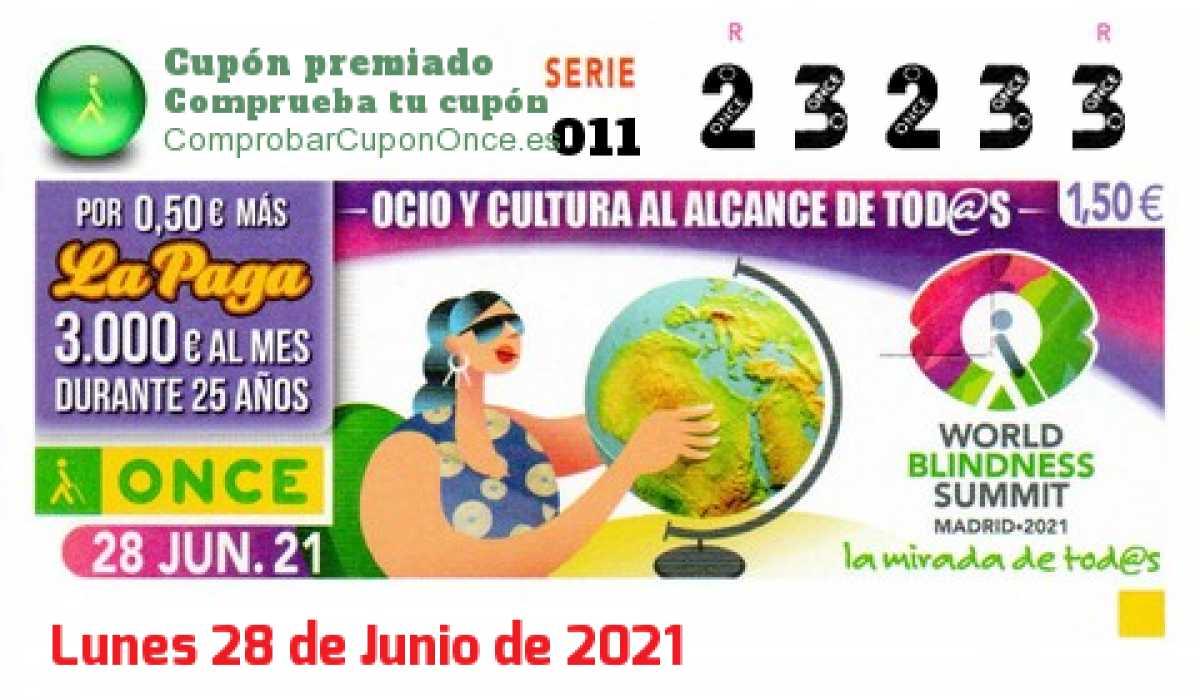 Cupón ONCE premiado el Lunes 28/6/2021