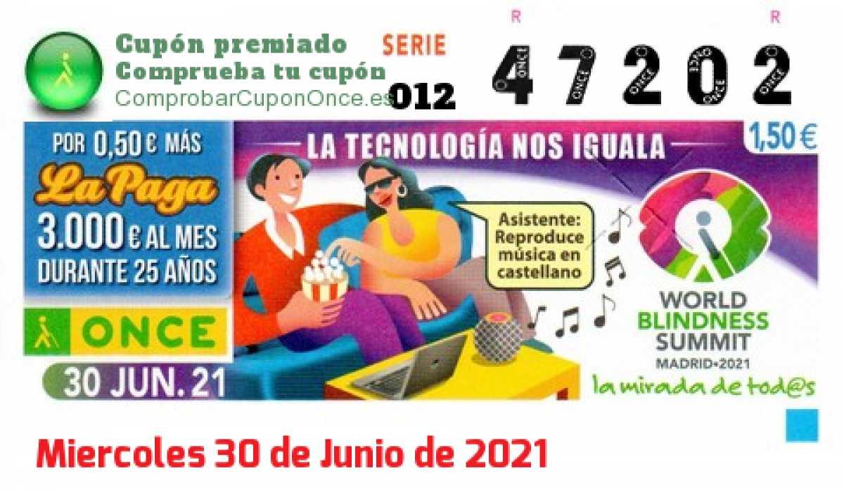 Cupón ONCE premiado el Miercoles 30/6/2021
