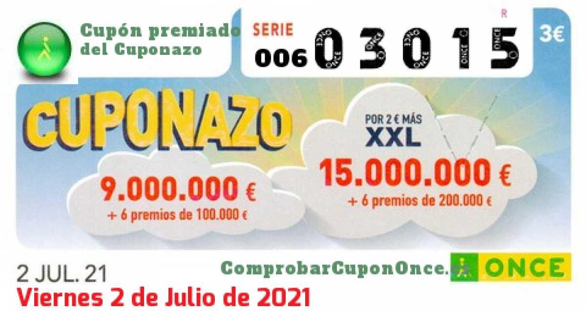 Cuponazo ONCE premiado el Viernes 2/7/2021