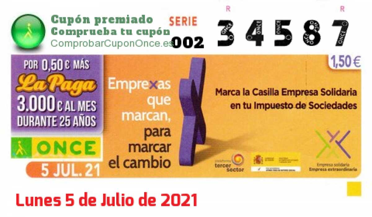 Cupón ONCE premiado el Lunes 5/7/2021