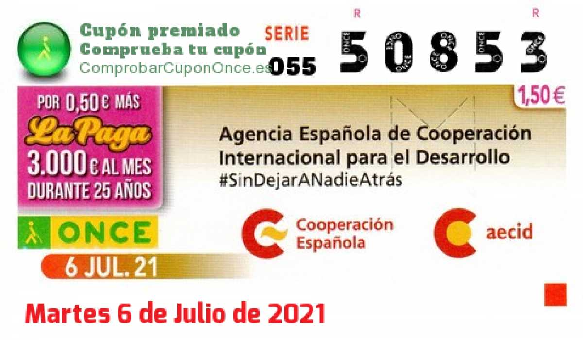 Cupón ONCE premiado el Martes 6/7/2021