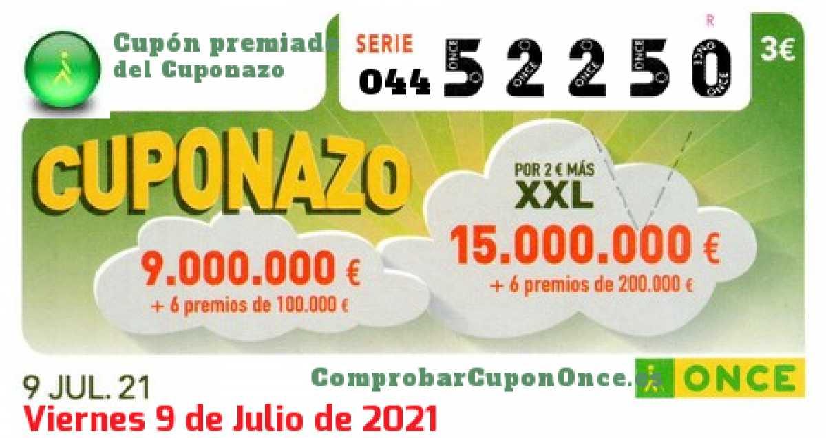 Cuponazo ONCE premiado el Viernes 9/7/2021