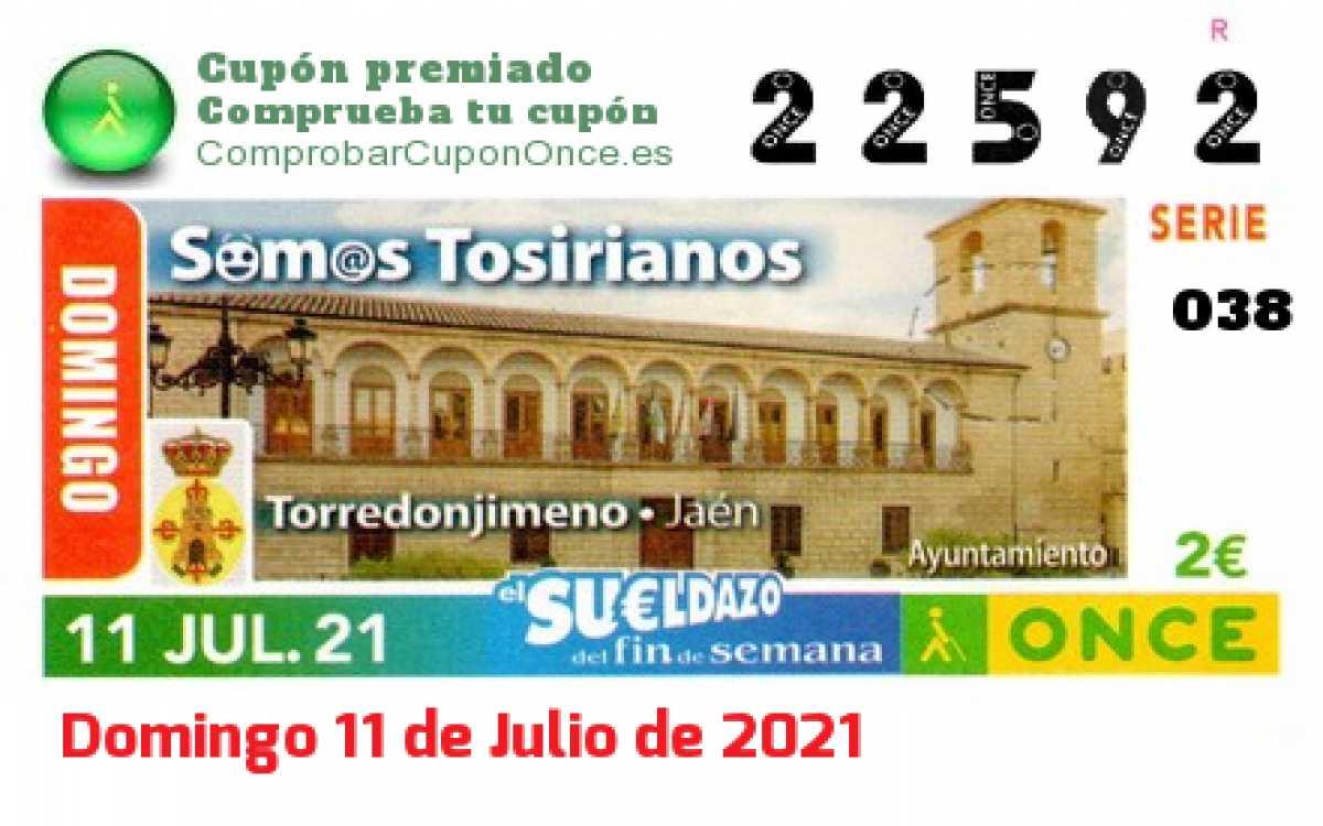 Sueldazo ONCE premiado el Domingo 11/7/2021