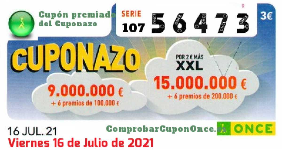 Cuponazo ONCE premiado el Viernes 16/7/2021