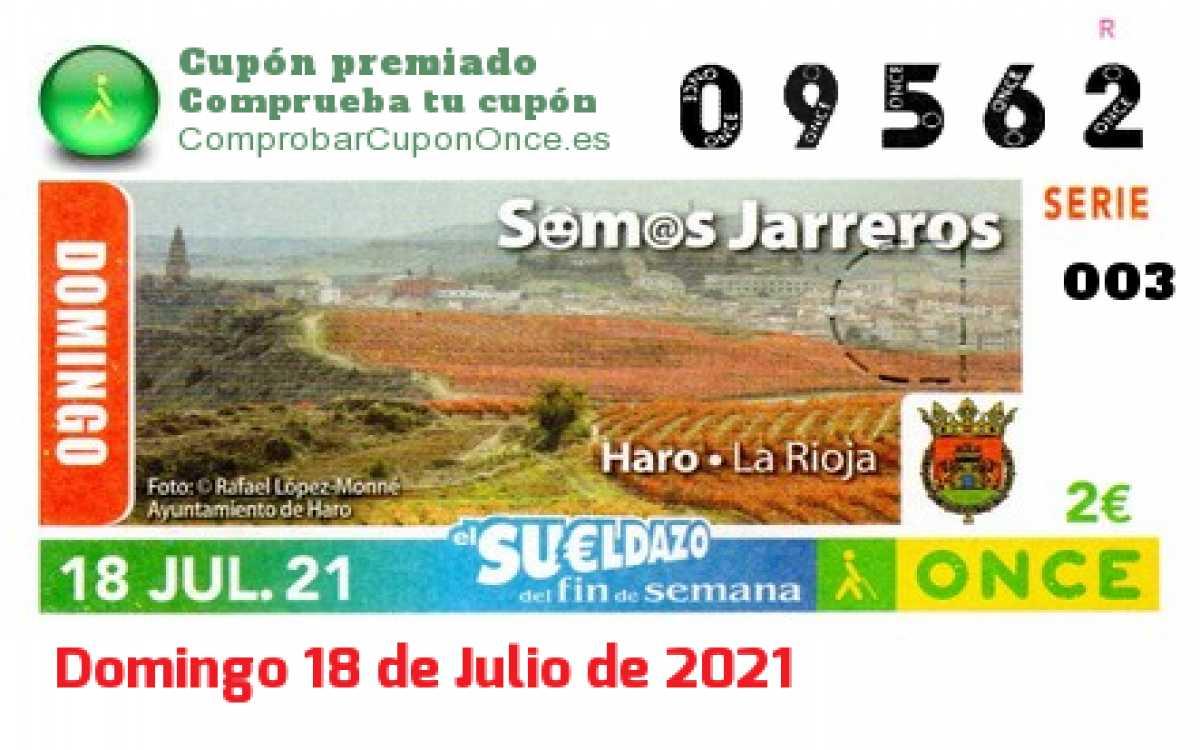 Sueldazo ONCE premiado el Domingo 18/7/2021