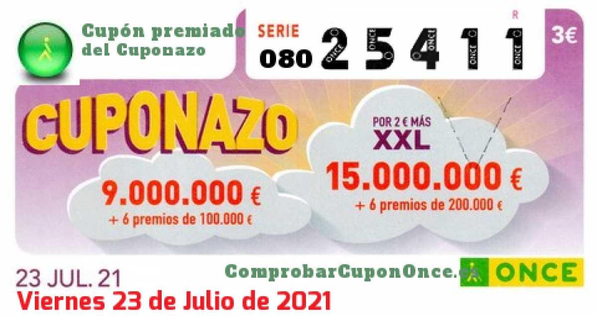 Cuponazo ONCE premiado el Viernes 23/7/2021