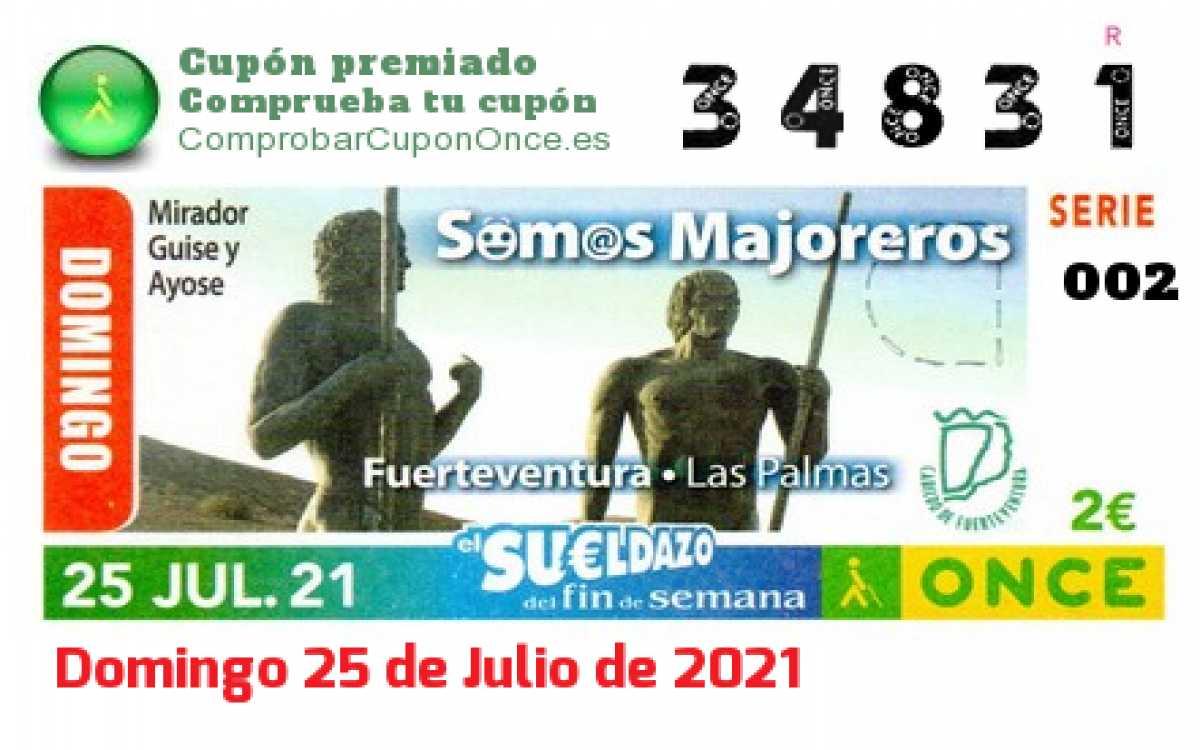 Sueldazo ONCE premiado el Domingo 25/7/2021