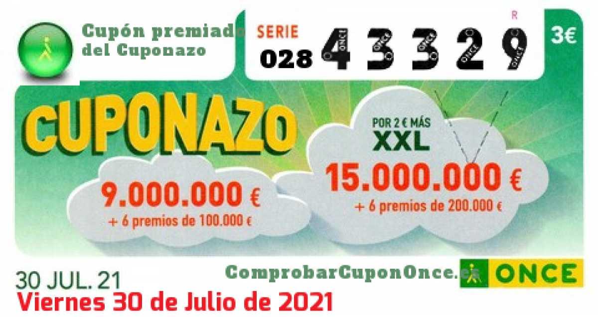 Cuponazo ONCE premiado el Viernes 30/7/2021