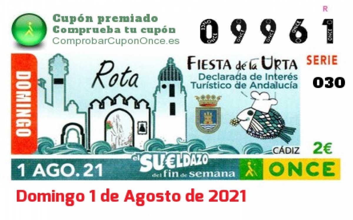 Sueldazo ONCE premiado el Domingo 1/8/2021