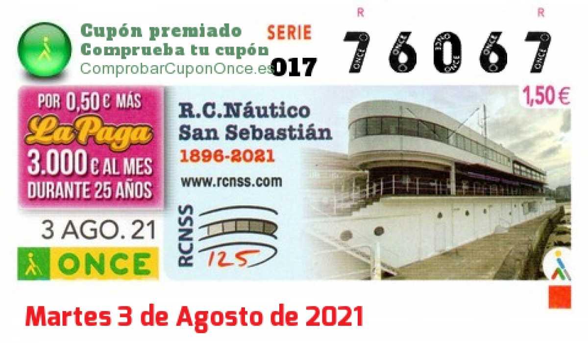 Cupón ONCE premiado el Martes 3/8/2021