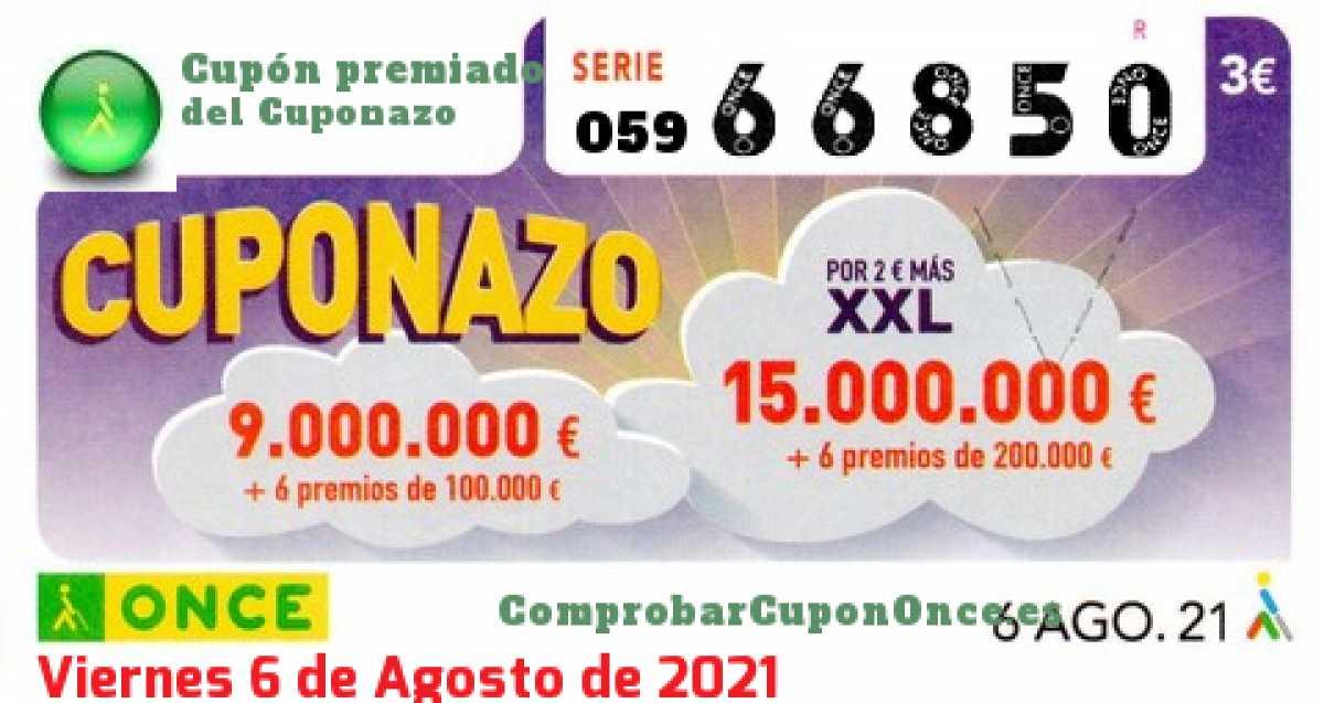 Cuponazo ONCE premiado el Viernes 6/8/2021