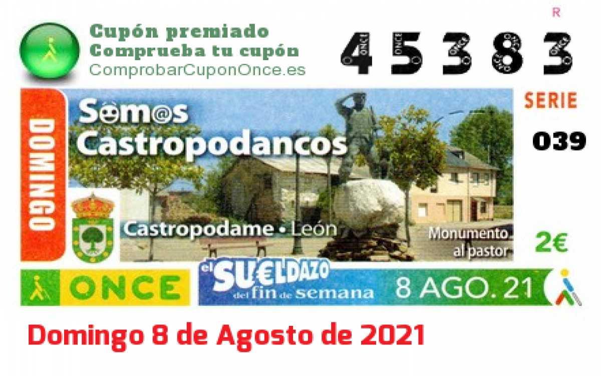 Sueldazo ONCE premiado el Domingo 8/8/2021