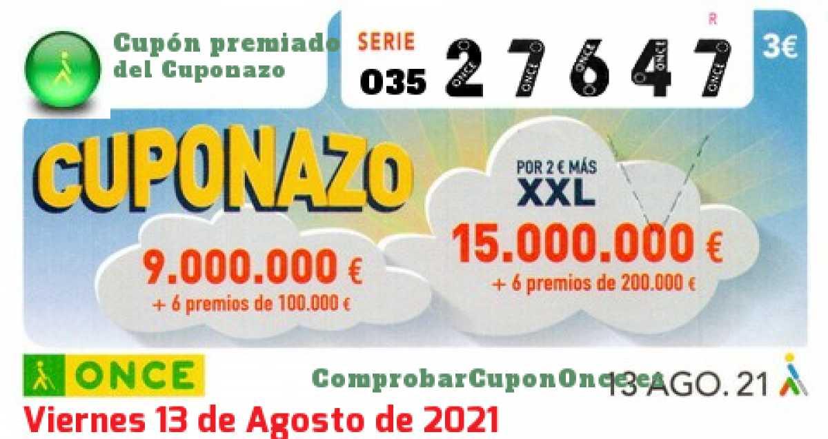 Cuponazo ONCE premiado el Viernes 13/8/2021