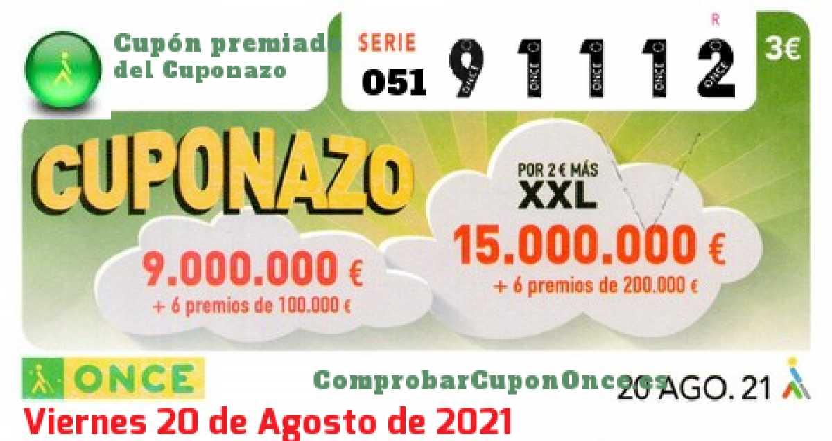Cuponazo ONCE premiado el Viernes 20/8/2021