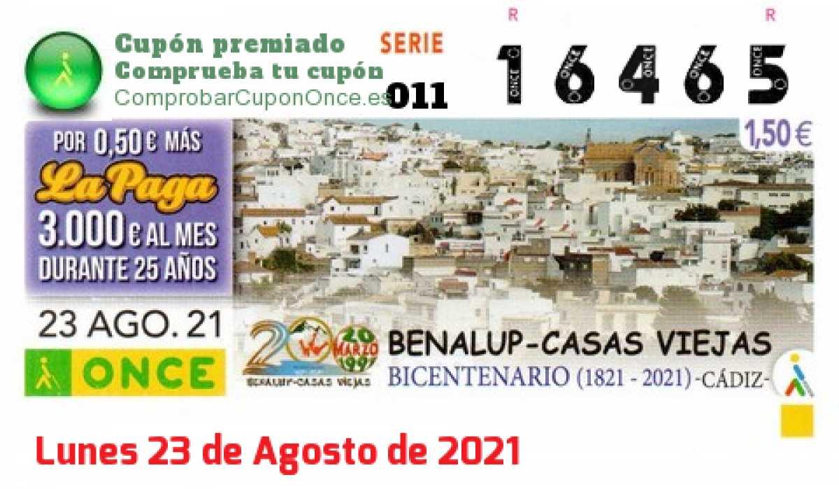 Cupón ONCE premiado el Lunes 23/8/2021