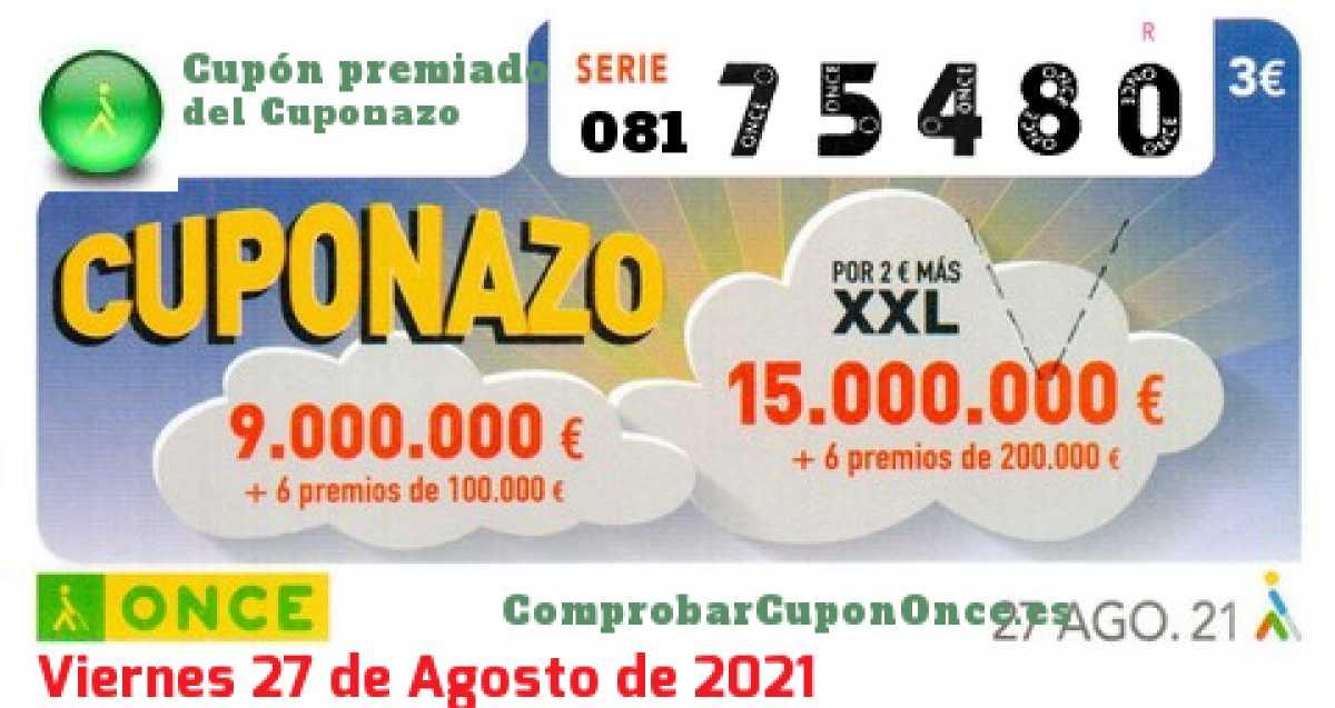 Cuponazo ONCE premiado el Viernes 27/8/2021