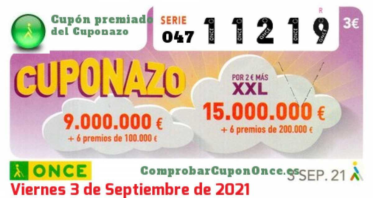 Cuponazo ONCE premiado el Viernes 3/9/2021