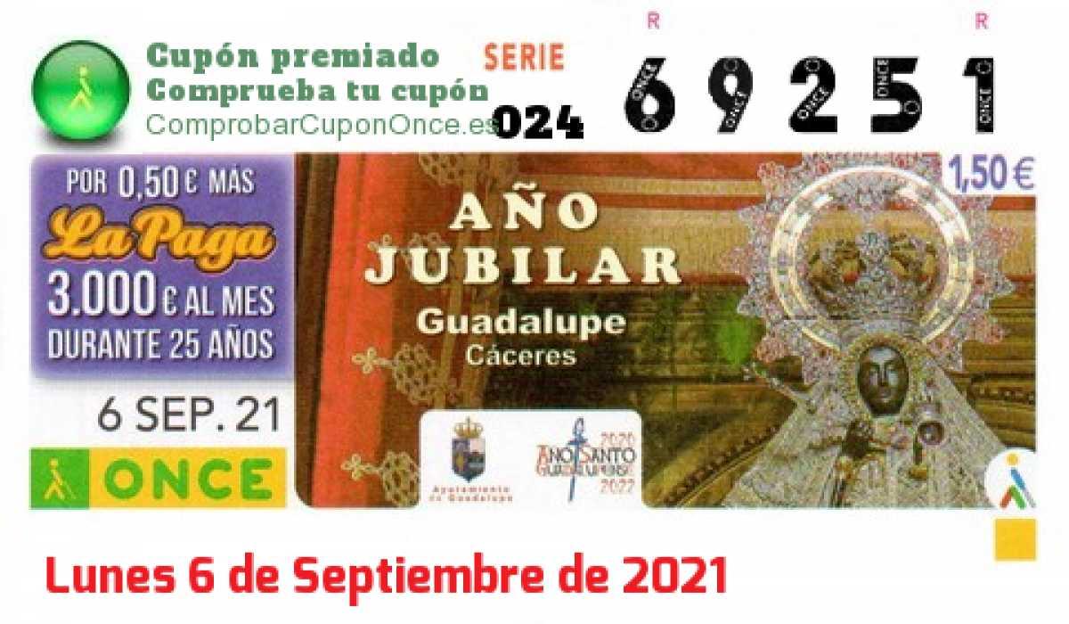 Cupón ONCE premiado el Lunes 6/9/2021