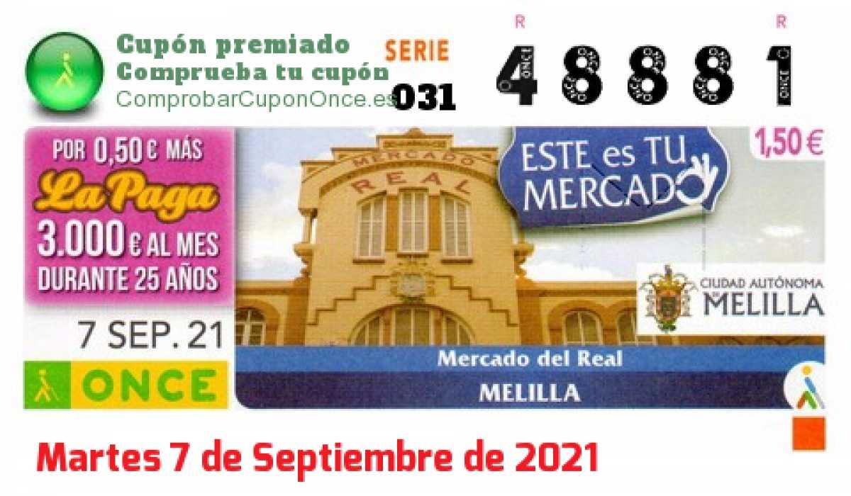 Cupón ONCE premiado el Martes 7/9/2021