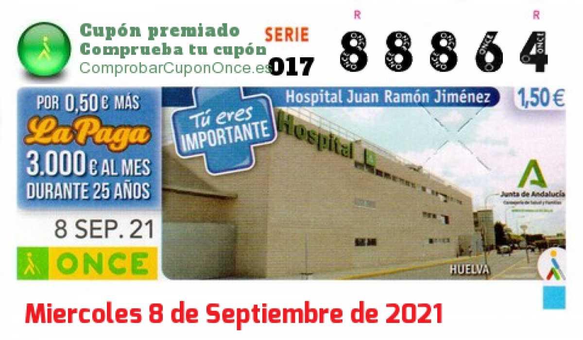 Cupón ONCE premiado el Miercoles 8/9/2021