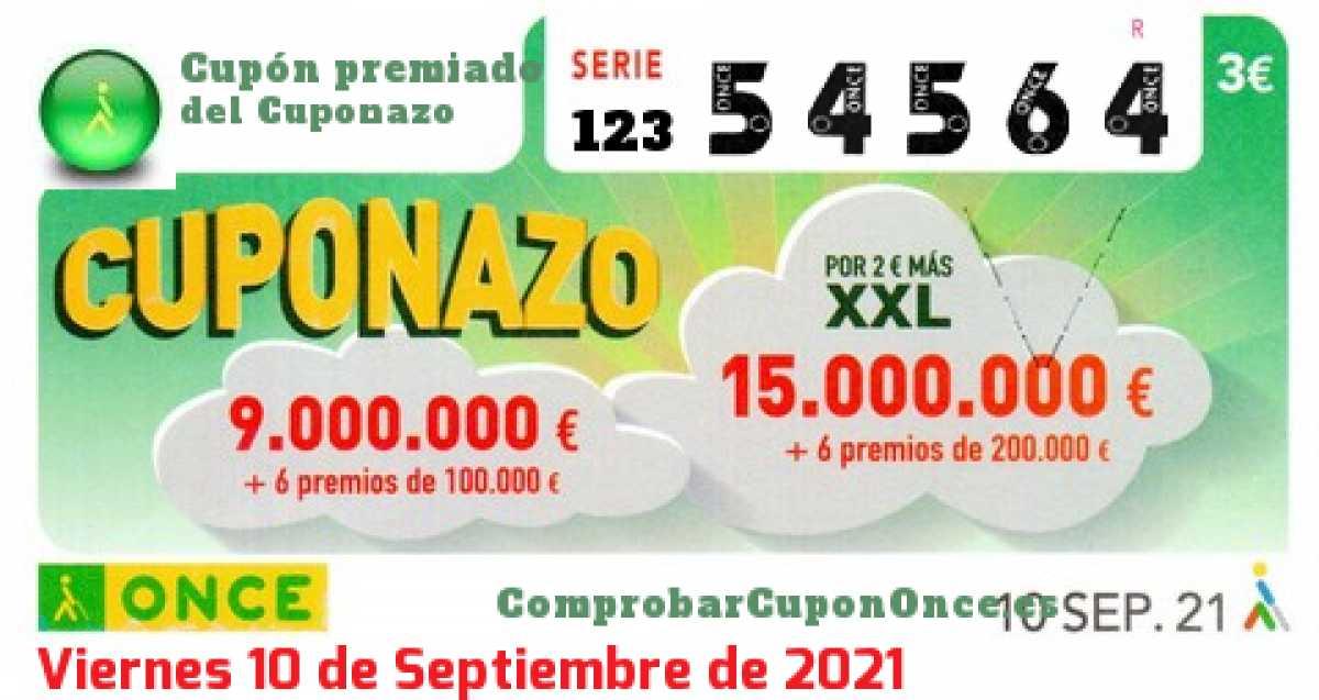 Cuponazo ONCE premiado el Viernes 10/9/2021