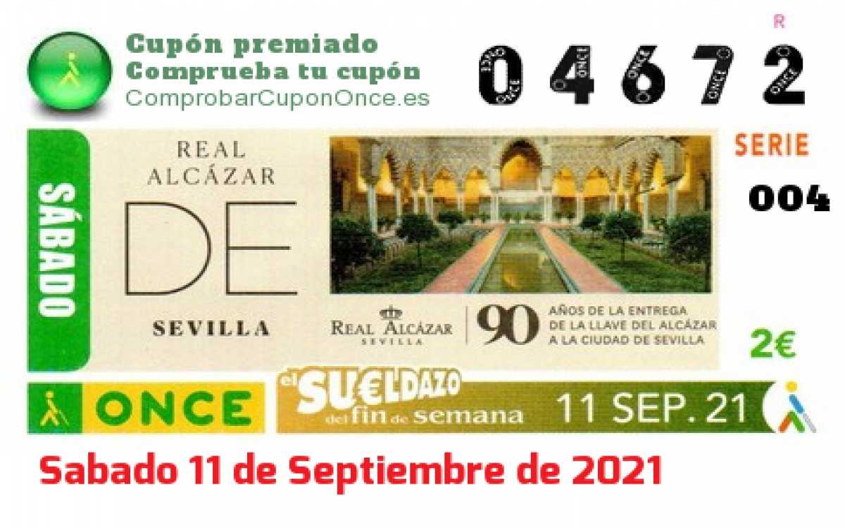 Sueldazo ONCE premiado el Sabado 11/9/2021