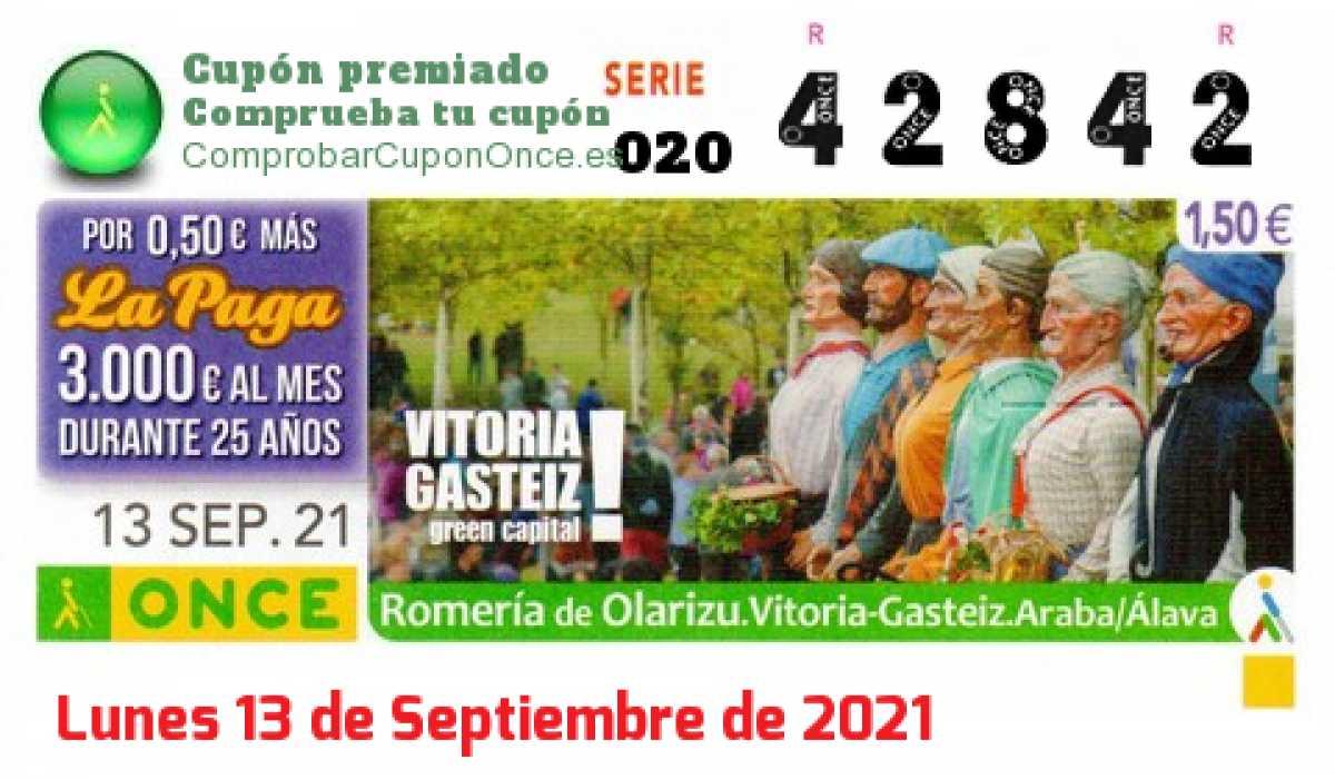 Cupón ONCE premiado el Lunes 13/9/2021