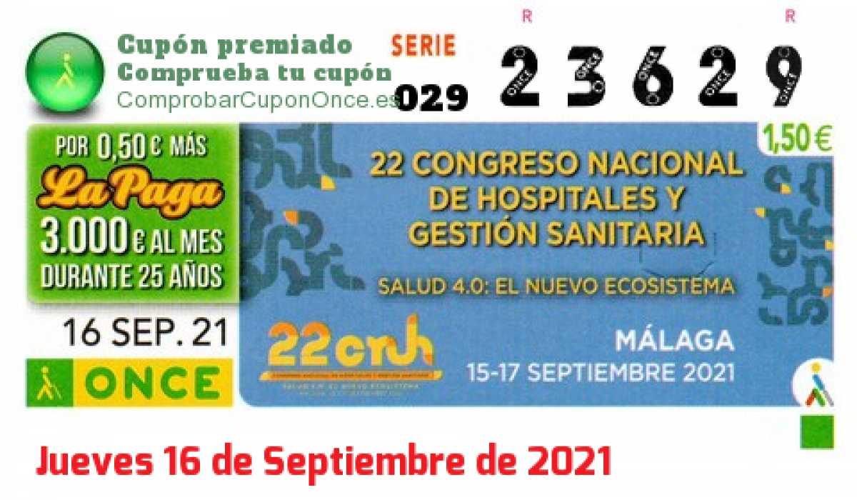 Cupón ONCE premiado el Jueves 16/9/2021