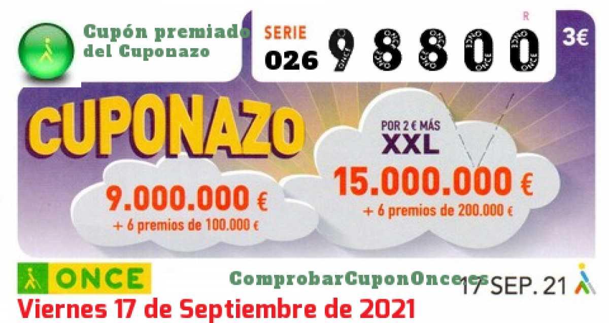 Cuponazo ONCE premiado el Viernes 17/9/2021