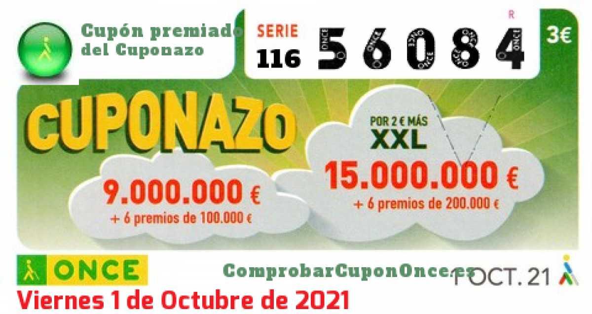 Cuponazo ONCE premiado el Viernes 1/10/2021