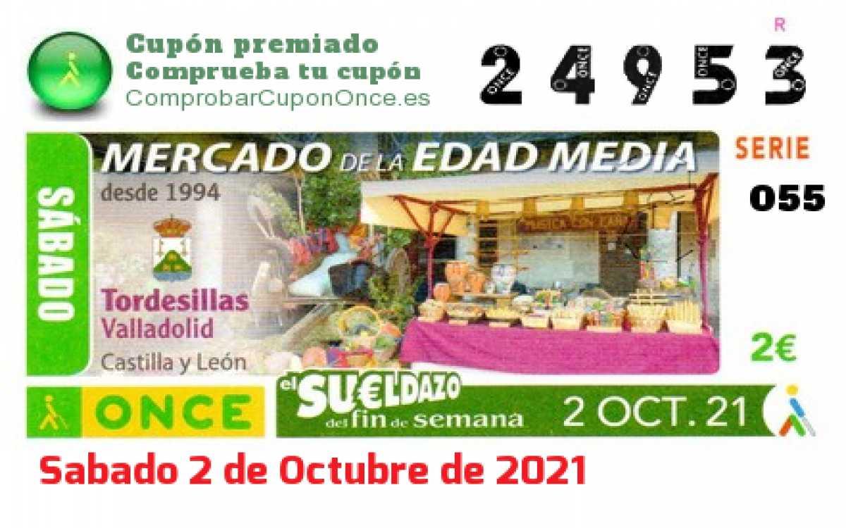 Sueldazo ONCE premiado el Sabado 2/10/2021