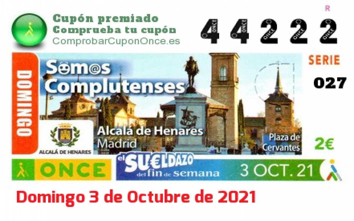 Sueldazo ONCE premiado el Domingo 3/10/2021