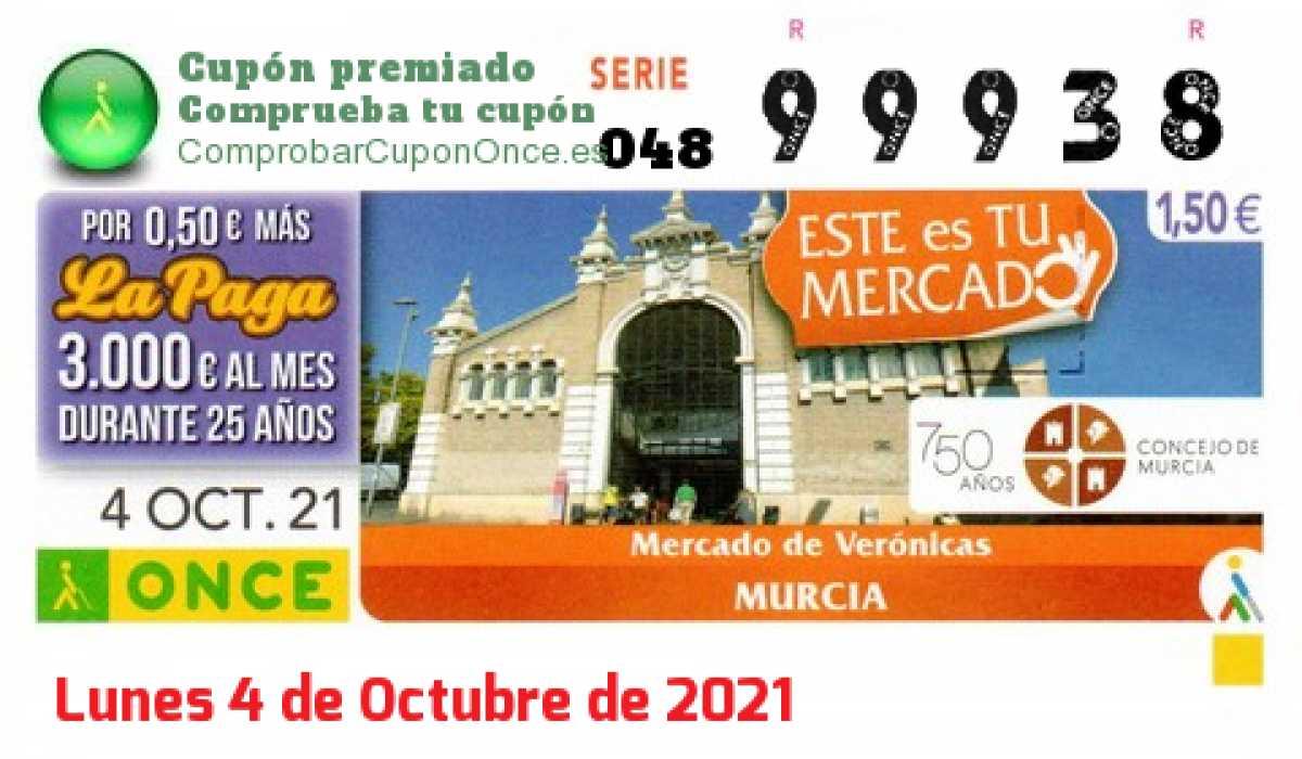 Cupón ONCE premiado el Lunes 4/10/2021