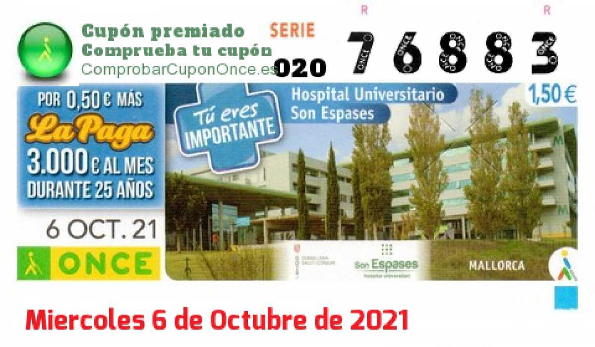 Cupón ONCE premiado el Miercoles 6/10/2021