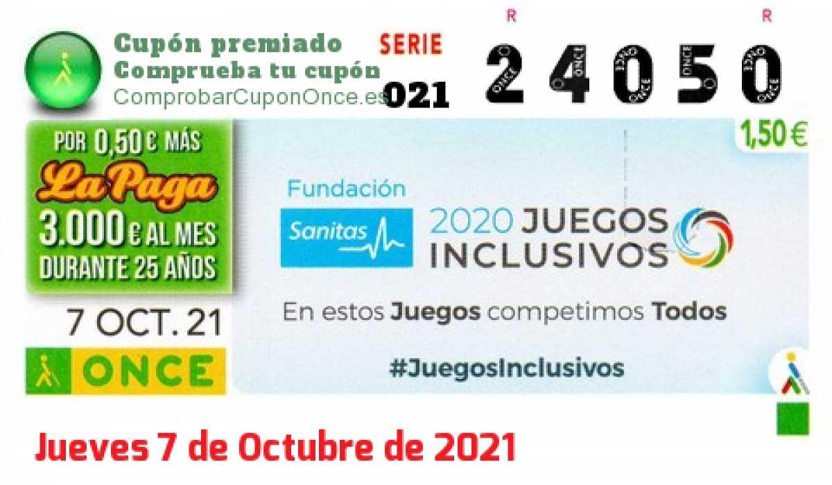 Cupón ONCE premiado el Jueves 7/10/2021