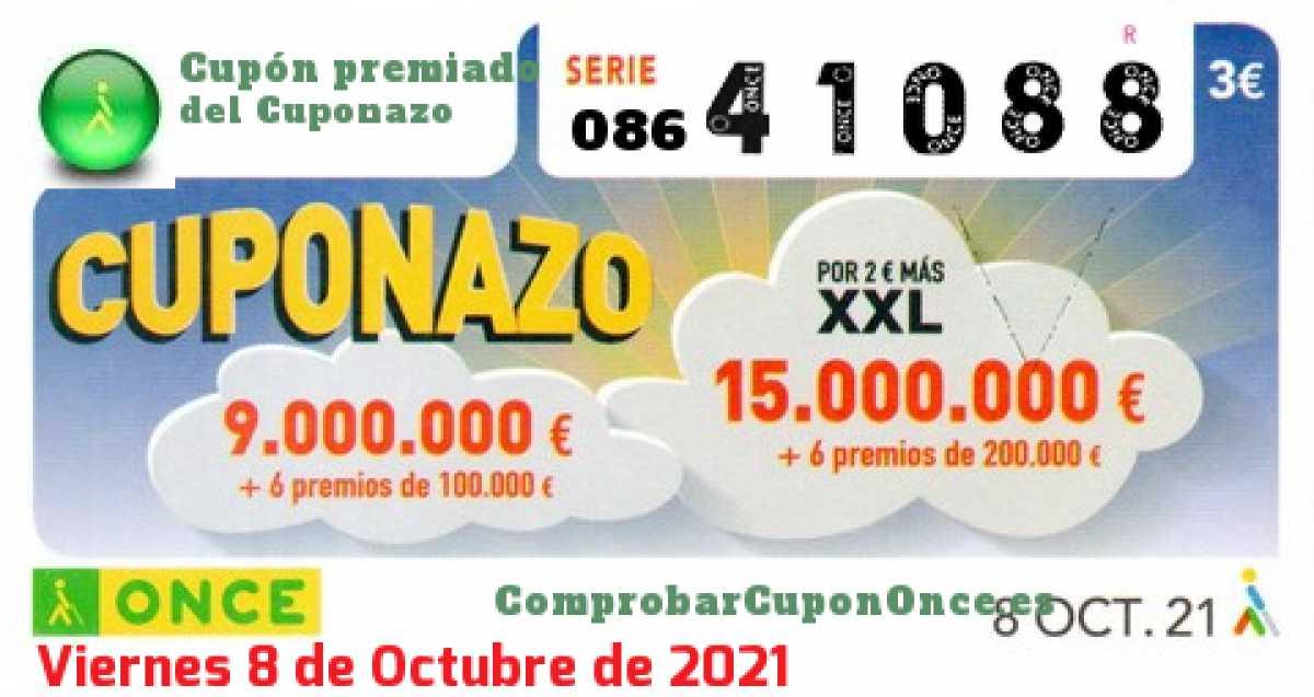 Cuponazo ONCE premiado el Viernes 8/10/2021