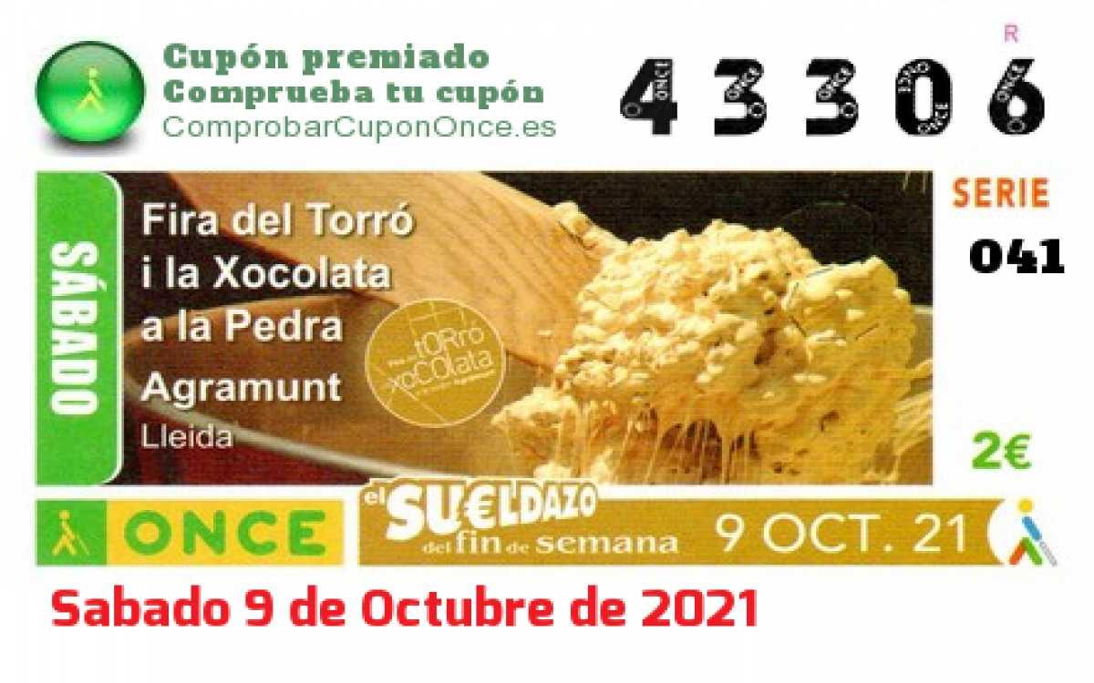 Sueldazo ONCE premiado el Sabado 9/10/2021