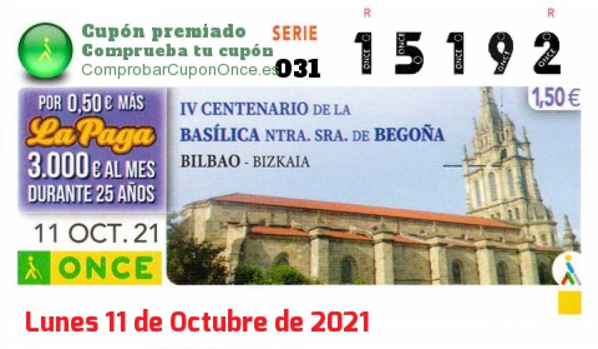 Cupón ONCE premiado el Lunes 11/10/2021