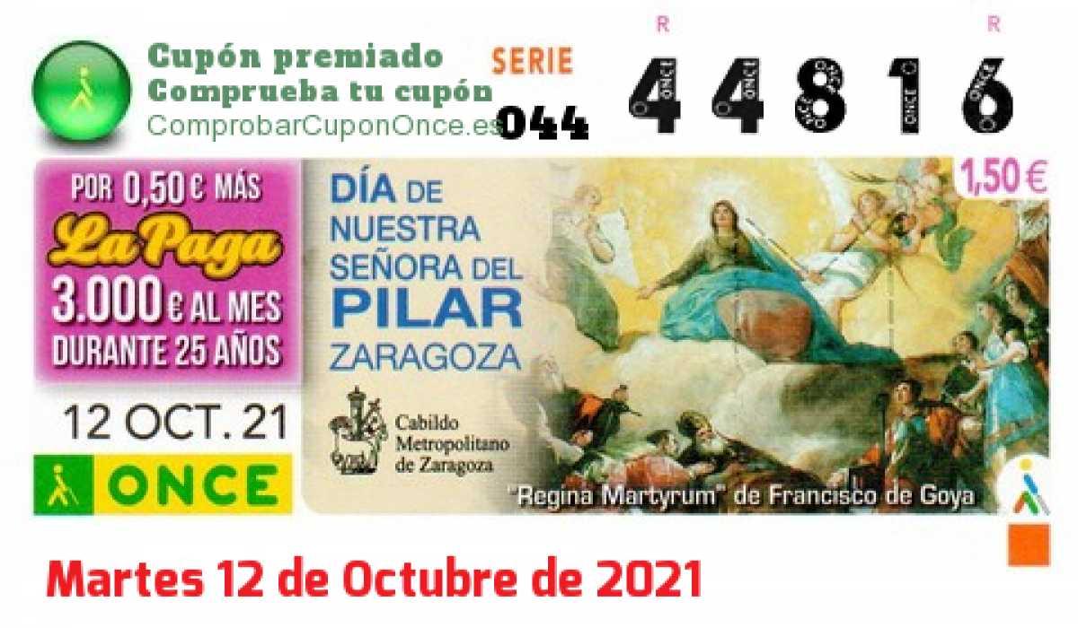 Cupón ONCE premiado el Martes 12/10/2021
