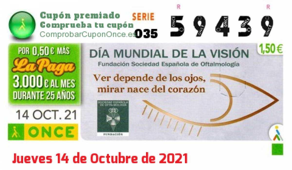 Cupón ONCE premiado el Jueves 14/10/2021