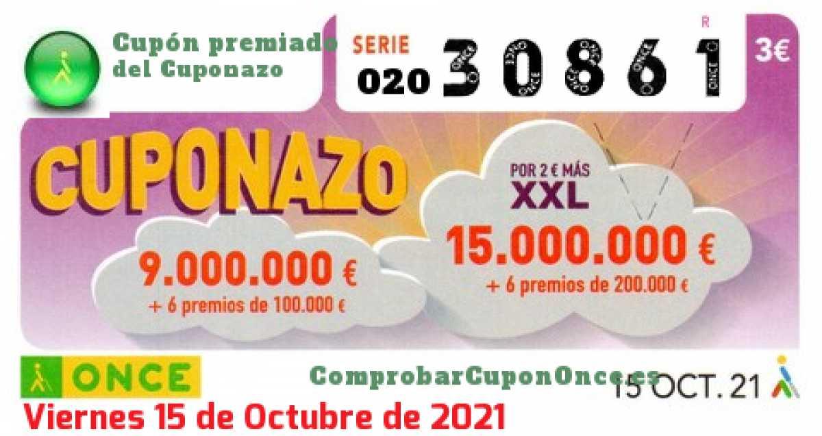 Cuponazo ONCE premiado el Viernes 15/10/2021